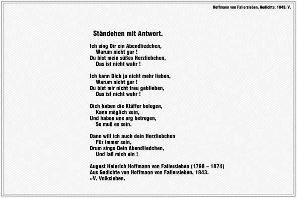Ständchen mit Antwort – Hoffmann von Fallersleben